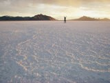 A Distant Figure Stands with Arms Upraised on the Immense Salt Flat - Walter Meayers Edwards