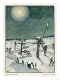 The Moon Casts an Eerie Light on German War Graves Under a Blanket of Snow - Walther Puttner