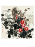 Birds and Red Blossoms by Rock - Wanqi Zhang