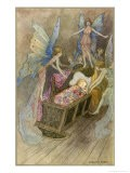 Fairies Around a Baby's Cot - Warwick Goble