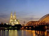 Cologne Cathedral and Hohenzollern Bridge at Night, Cologne, North Rhine Westphalia, Germany - Yadid Levy