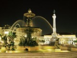 Rossio Square (Dom Pedro Iv Square) at Night, Lisbon, Portugal, Europe - Yadid Levy