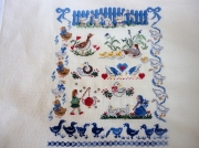 art textile mode animaux broderie oies bleu point compte : Broderie les oies