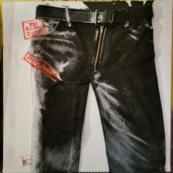 ART TEXTILE, MODE ROLLING STONES STICKY FINGERS MICK JAGGER PAINT Personnages  - ROLLING STONES