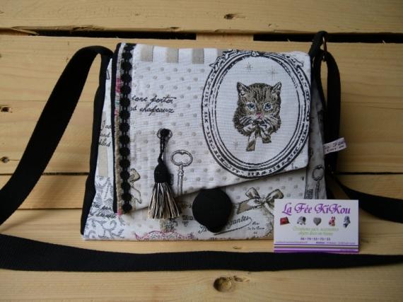 524d76fb33 ART TEXTILE, MODE sac à main chic Pari impression, chat,clé modèle unique  la fée kikou ...