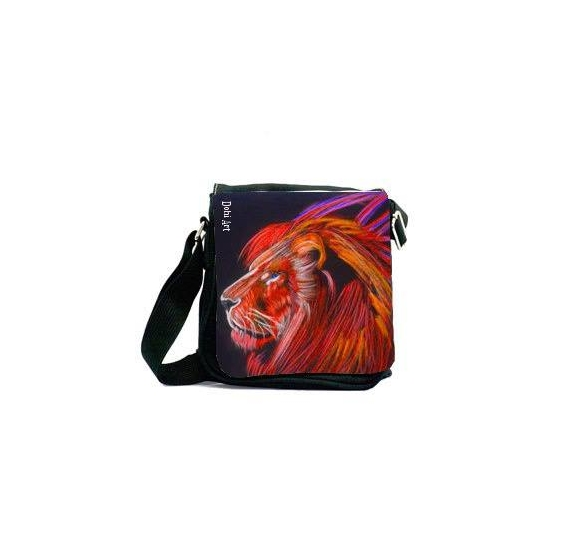 ART TEXTILE, MODE sac lion mode animaux Animaux  - Sacoche Red lion