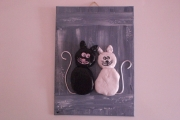 artisanat dart animaux chat galets cailloux amoureux : Couple chats