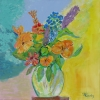 Artiste Peintre - bouquet orange et bleu