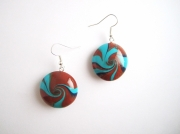 "bijoux : Boucles d'oreille collection ""Swirl"" bleu, marron"
