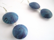 "bijoux : Boucles d'oreille collection ""Swirl"" double bleu"