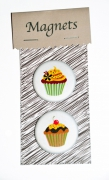 deco design nature morte magnets rose magnets cuisine aimant amusant magnet gateau : MAGNETS CUPCAKES noeud rose...