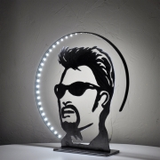 deco design personnages lampe johnny hallyday silhouette johnny ha l art du fer : lampe,luminaire Johnny Hallyday en métal