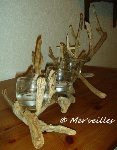 Deco Table Bois Flotté déco, design photophore centre de table bois flottés étoile de mer