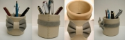 deco design pot cuir noeud : Pot creme et gris