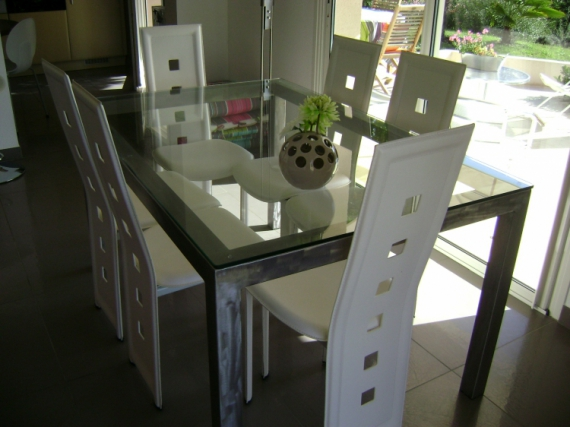 Deco Design Table Sejour Metal Verre Table De Sejour