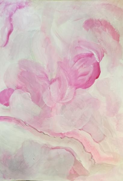 Dessin Abstrait Rose Douceur Legerete Aquarelle Encadree