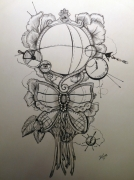 dessin abstrait tatouage steampunk floral victorien : Victorian earth