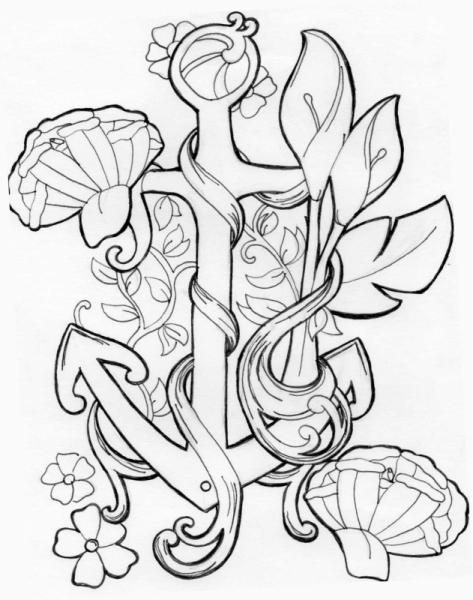 dessin ancre marine fleurs tatouage art nouveau - ancre fleurie