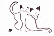 dessin animaux chats animaux encre de chine expressionnisme exp : Chat expressionniste