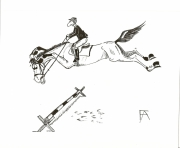 dessin animaux cheval humour encre obstacle : humour cavaletti