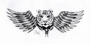 dessin animaux tigre aile noeud blanc : Hybride
