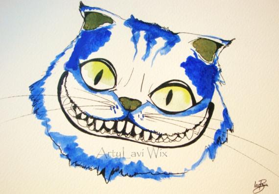 Dessin Aquarelle Chat Alice Au Pays Des Me Dessi Le Chat D Alice