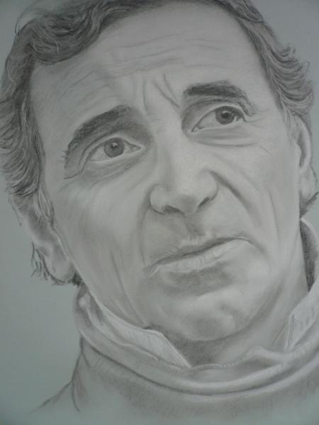 découvrir les dernières tendances bonne réputation en ligne à la vente DESSIN AZNAVOUR PORTRAIT DESSIN FUSAIN - Charles Aznavour
