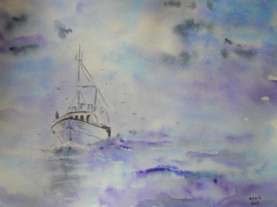Dessin Bateau De Peche Mer Marine Aquarelle Marine Le Bateau De Peche