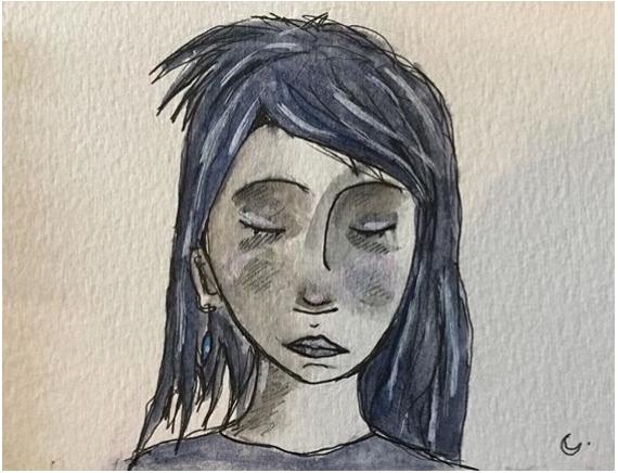 Dessin Bleu Tristesse Fille Portrait Melancholia