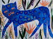 dessin chat bleu animal art brut : Chat Bleu