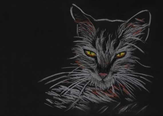 DESSIN Chat Etrange Clair-obscur Animaux Pastel  - It's where my demons hide