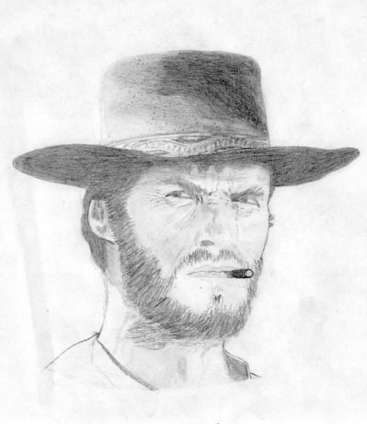 Dessin Clint Eastwood Portrait Crayon Noir Et Blanc Clint Eastwood