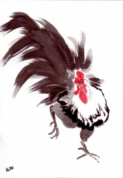 Dessin Coq Animaux Peinture Chinoise Encre De Chine Le Chant Du Coq