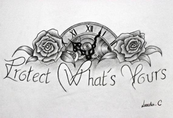 Dessin Crayon Tatouage Papier Fleur Tatouage Phrase Horloge Roses