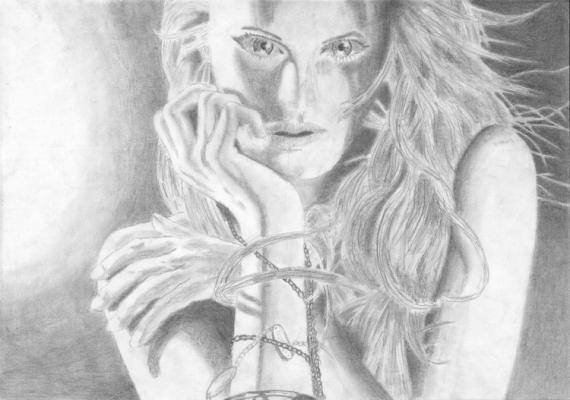 Dessin Femme Portrait Crayon Noir Et Blanc Femme Sensuelle