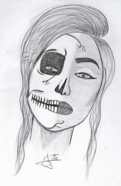 Dessin Femme Tete De Mort Tatouage Agressif La Femme Mortelle