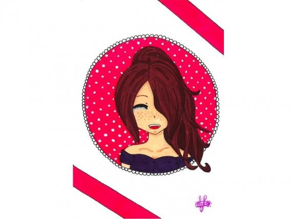 Dessin Fille Manga Portrait Promarker Pink Smile