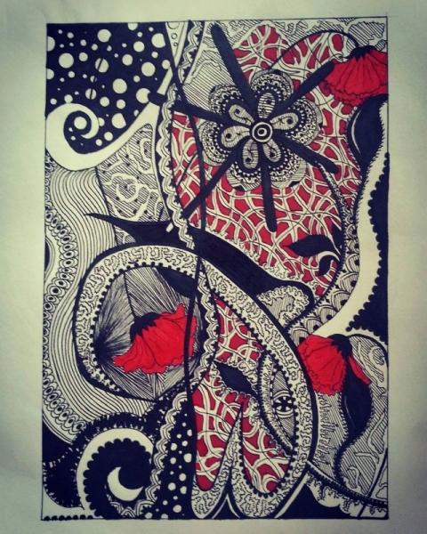 Dessin Fleur Rouge Noir Motif Rouge Et Noir