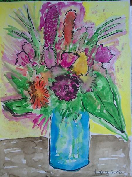 Dessin Fleurs Bouquet Vase Couleurs Des Couleurs En Bouquet