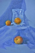 dessin fruits abricot nature morte bleu verre : NATURE MORTE aux abricots 2
