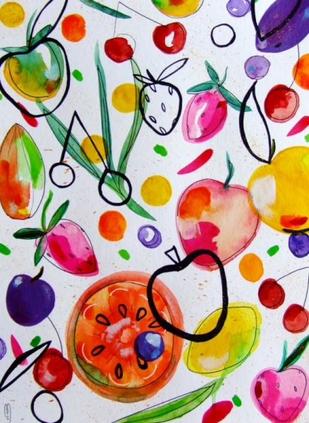DESSIN fruits fruits art fruits peinture fruits aquarelle Fruits Aquarelle  - Fruits