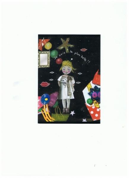 Dessin Illustration Collage Personnage Fillette Je Suis La Plus Belle