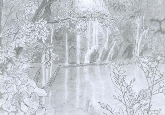 Dessin Lac Croatie Crayon Noir Et Blanc Lac De Croatie