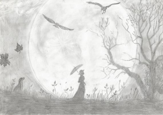 Dessin Lune Silhouette Crayon Noir Et Blanc La Lune Et La
