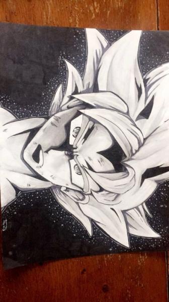 Dessin Manga Dragon Ball Goku Noir Et Blanc Goku Ultra