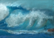 dessin marine vague ocean mer pastel : Vague