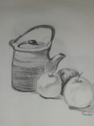 dessin nature morte fusain bouilloir fruit : nature morte 1