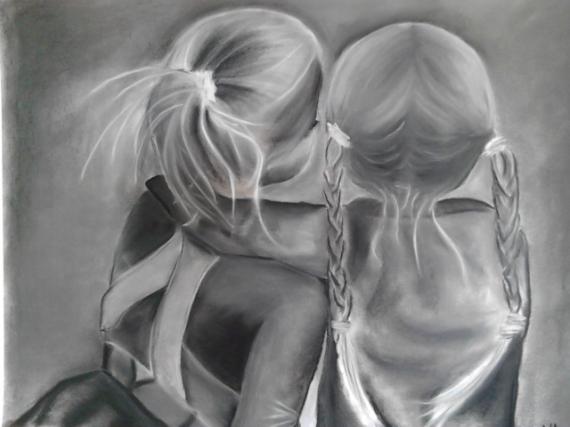 dessin noir blanc amis regard