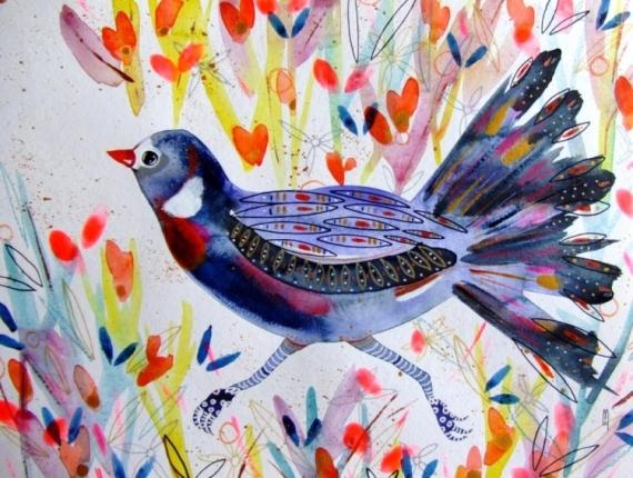 Dessin Oiseau Peinture Oiseau Bleu Oiseau Fleurs Oiseau Aquarelle Oiseau