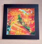 dessin paysages foret jaune vert rouge : 143/une Balade matinale